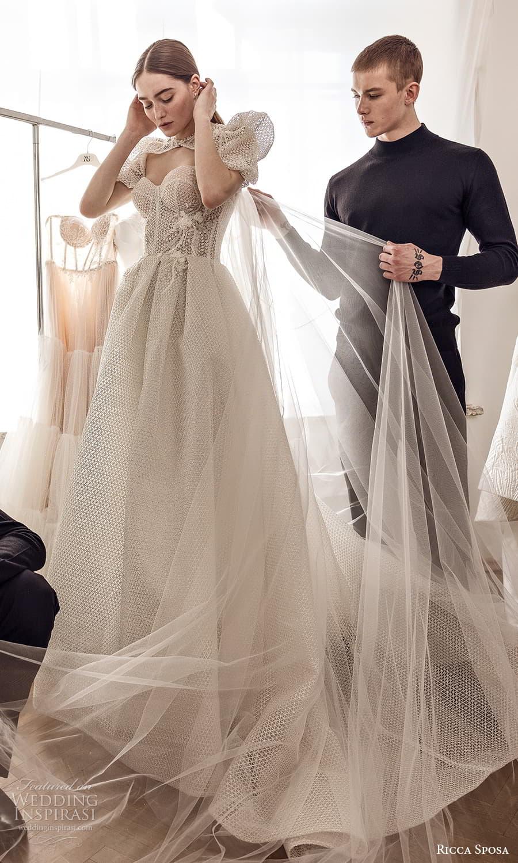 ricca sposa 2022 bridal short puff sleeve sweetheart neckline embellished bodice a line ball gown wedding dress chapel train (17) mv