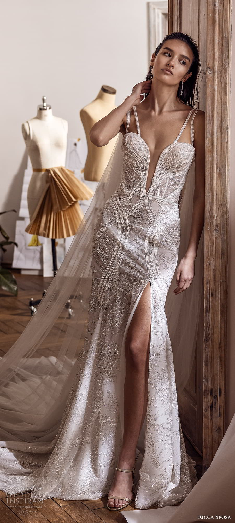 ricca sposa 2022 bridal sleeveless double straps plunging sweetheart neckline fit flare mermid wedding dress slit skirt chapel train (19) lv