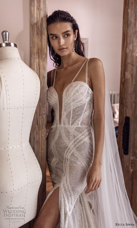 ricca sposa 2022 bridal sleeveless double straps plunging sweetheart neckline fit flare mermid wedding dress slit skirt chapel train (19) zv