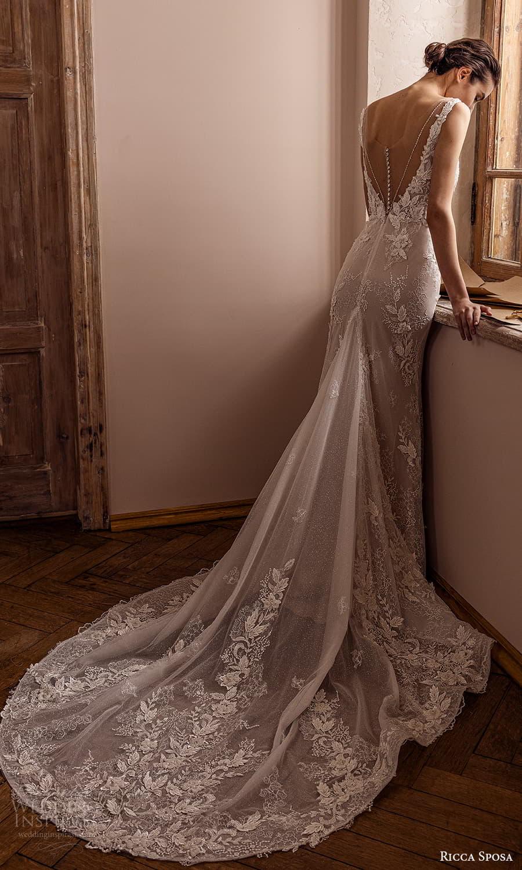 ricca sposa 2022 bridal sleeveless straps plunging v neckline embellished bodice lace sheath wedding dress chapel train a line overskirt (5) bv