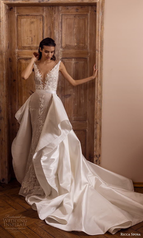 ricca sposa 2022 bridal sleeveless straps plunging v neckline embellished bodice lace sheath wedding dress chapel train a line overskirt (5) mv