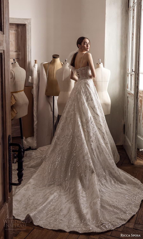 ricca sposa 2022 bridal sleeveless straps sweetheart neckline embellished bodice a line ball gown wedding dress chapel train (31) bv