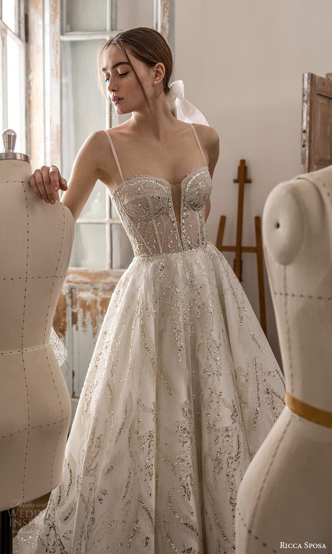 ricca sposa 2022 bridal sleeveless straps sweetheart neckline embellished bodice a line ball gown wedding dress chapel train (31) mv
