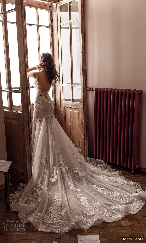 ricca sposa 2022 bridal sleeveless straps sweetheart neckline embellished bodice fit flare mermaid wedding dress chapel train (14) bv