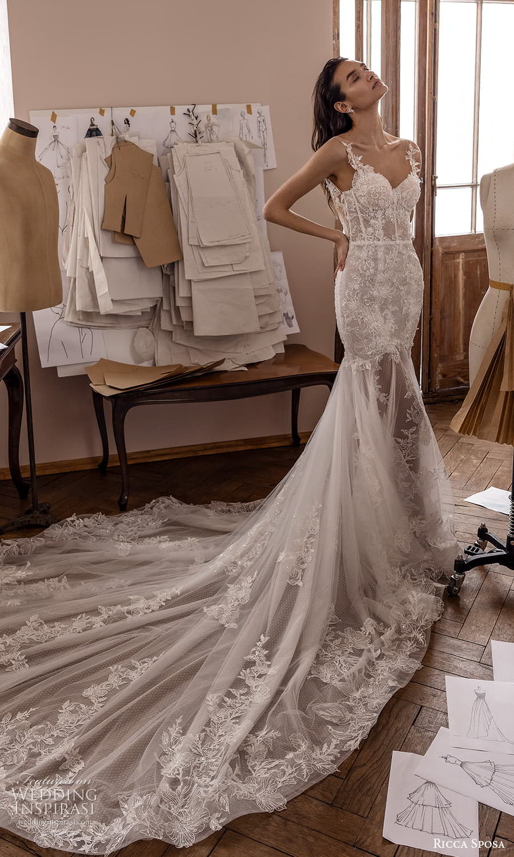 ricca sposa 2022 bridal sleeveless straps sweetheart neckline embellished bodice fit flare mermaid wedding dress chapel train (14) mv