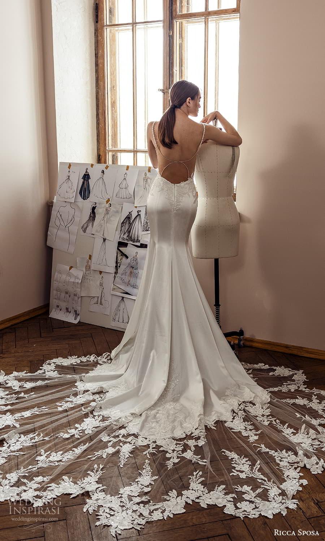 ricca sposa 2022 bridal sleeveless straps sweetheart neckline embellished bodice sheath wedding dress lace cathedral train sheer back (1) bv