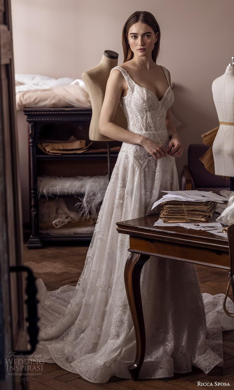 ricca sposa 2022 bridal sleeveless straps sweetheart neckline fully embellished a line ball gown wedding dress chapel train (22) mv