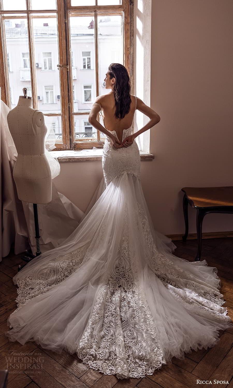 ricca sposa 2022 bridal sleeveless straps sweetheart neckline fully embellished lace fit flare mermaid wedding dress chapel train (9) bv