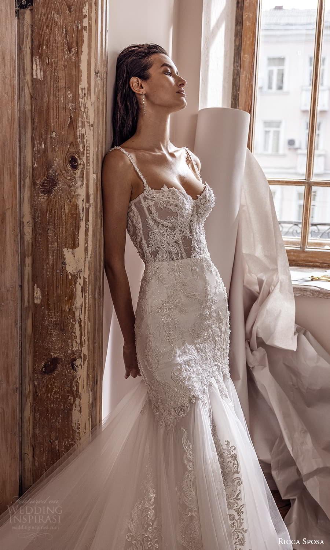 ricca sposa 2022 bridal sleeveless straps sweetheart neckline fully embellished lace fit flare mermaid wedding dress chapel train (9) mv