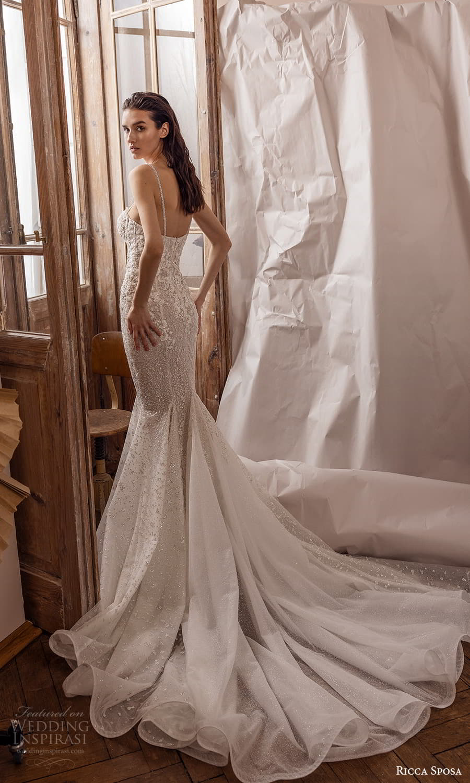 ricca sposa 2022 bridal sleeveless straps sweetheart neckline fully embellished sheath wedding dress chapel train (21) bv