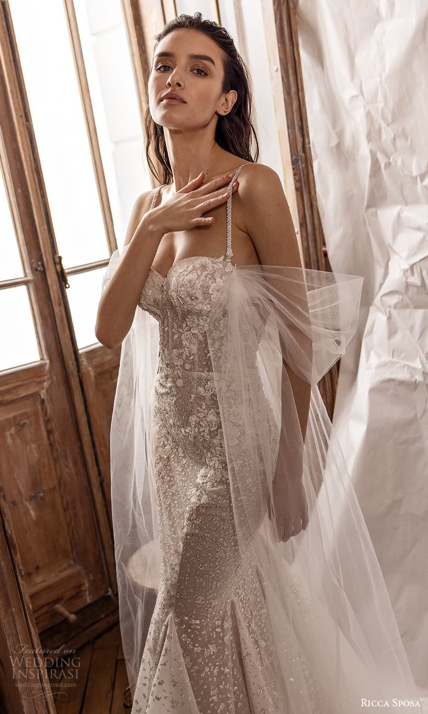 ricca sposa 2022 bridal sleeveless straps sweetheart neckline fully embellished sheath wedding dress chapel train (21) mv