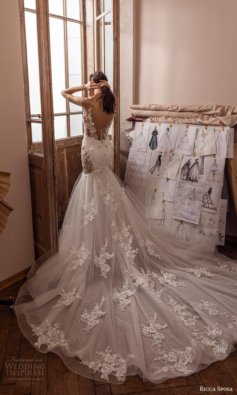ricca sposa 2022 bridal sleeveless straps v neckline embellished fit flare mermaid wedding dress chapel train (32) mv