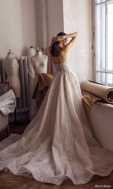 ricca sposa 2022 bridal strapless straight across neckline embellished bodice a line ball gown wedding dress slit skirt chapel train (2) bv