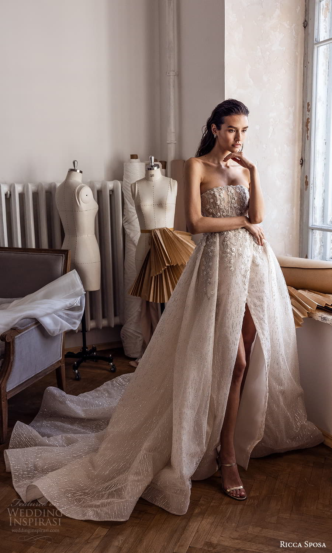 ricca sposa 2022 bridal strapless straight across neckline embellished bodice a line ball gown wedding dress slit skirt chapel train (2) mv