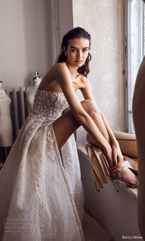 ricca sposa 2022 bridal strapless straight across neckline embellished bodice a line ball gown wedding dress slit skirt chapel train (2) zv