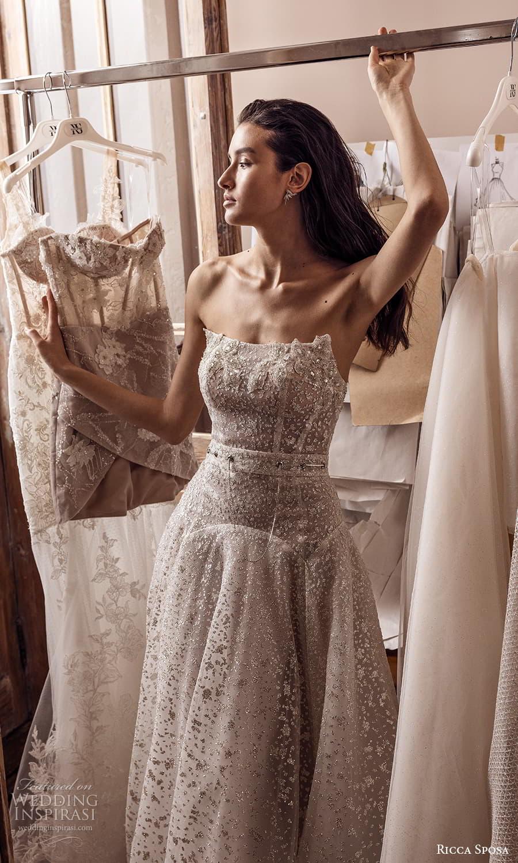 ricca sposa 2022 bridal strapless straight across neckline fully embellished drop waist a line wedding dress chapel train (18) mv