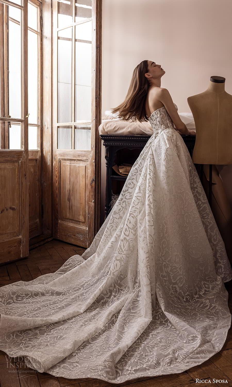 ricca sposa 2022 bridal strapless sweetheart neckline embellished a line ball gown wedding dress chapel train (26) mv