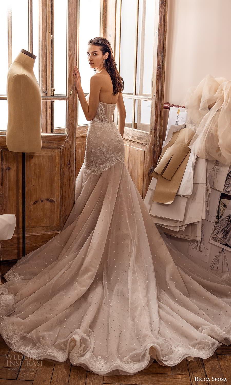 ricca sposa 2022 bridal strapless sweetheart neckline embellished bodie fit flare mermaid wedding dress chapel train sheer cape (6) bv