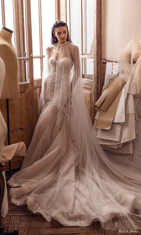 ricca sposa 2022 bridal strapless sweetheart neckline embellished bodie fit flare mermaid wedding dress chapel train sheer cape (6) mv