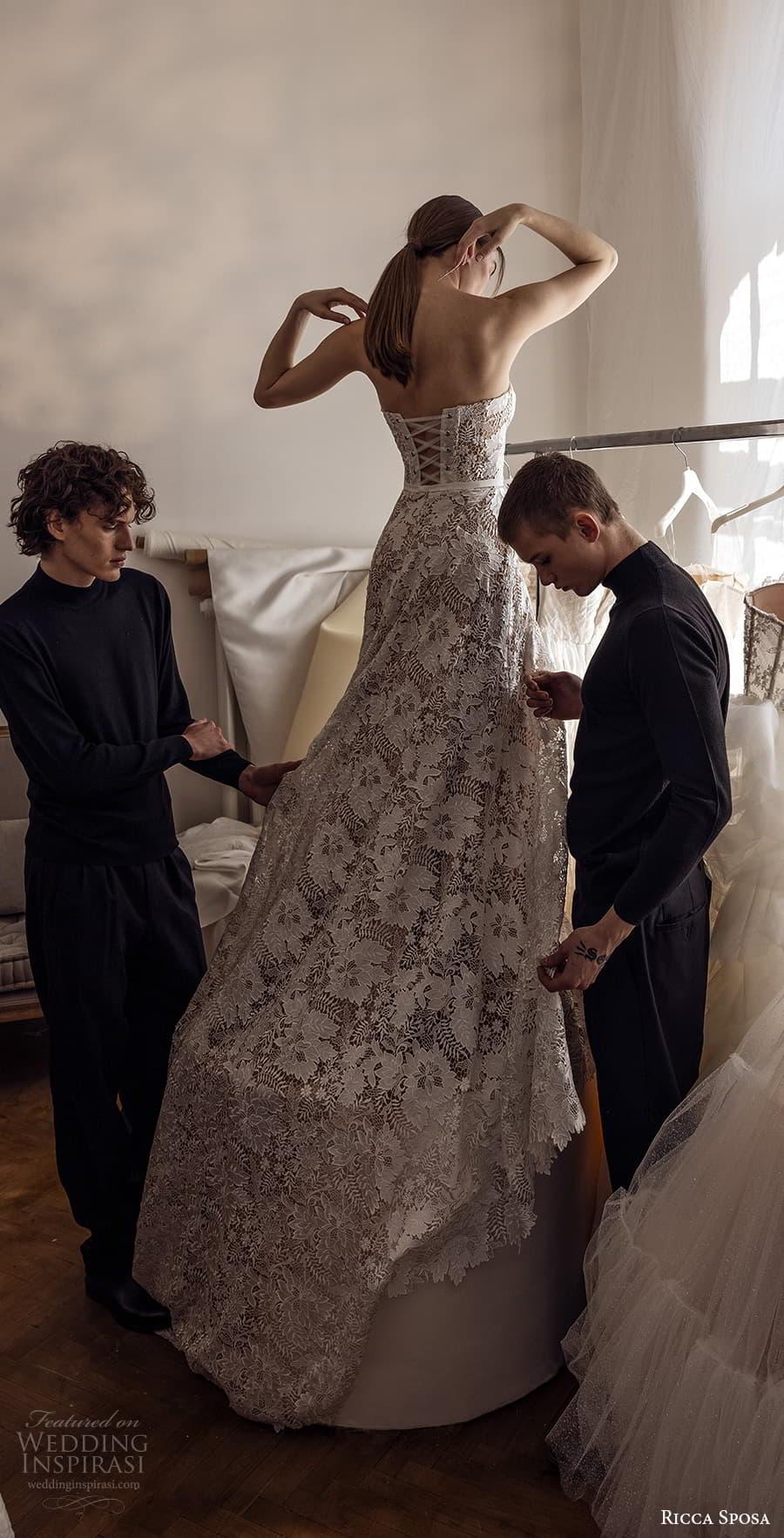 ricca sposa 2022 bridal strapless sweetheart neckline embellished lace a line wedding dress chapel train (25) bv