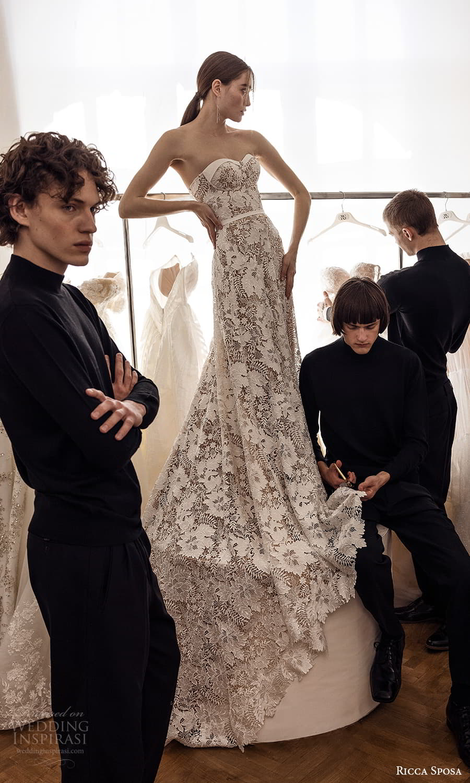 ricca sposa 2022 bridal strapless sweetheart neckline embellished lace a line wedding dress chapel train (25) mv