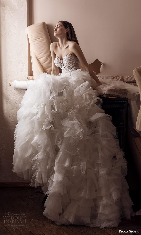 ricca sposa 2022 bridal strapless sweetheart neckline heavily embellished bodice ruffle skirt a line ball gown wedding dress chapel train (29) mv