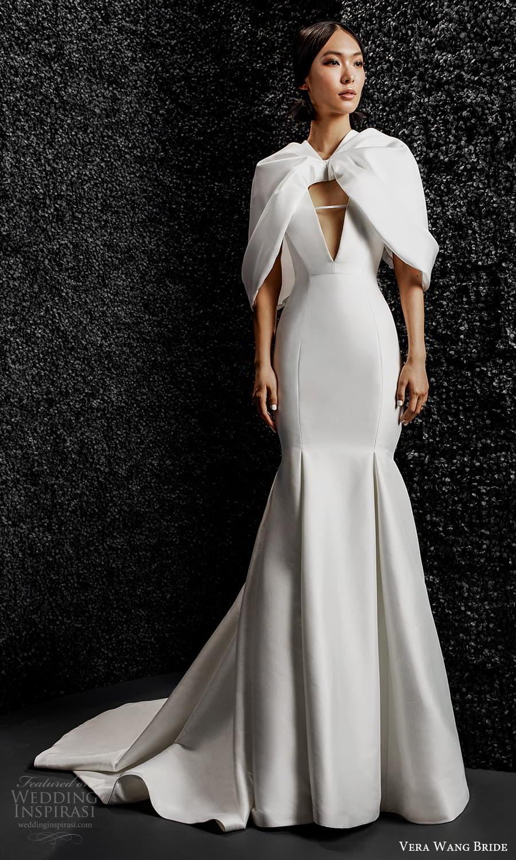 vera wang bride pronovias fall 2021 bridal cape tulip sleeve plunging v neckline clean modern sheath wedding dress chapel train (6) mv