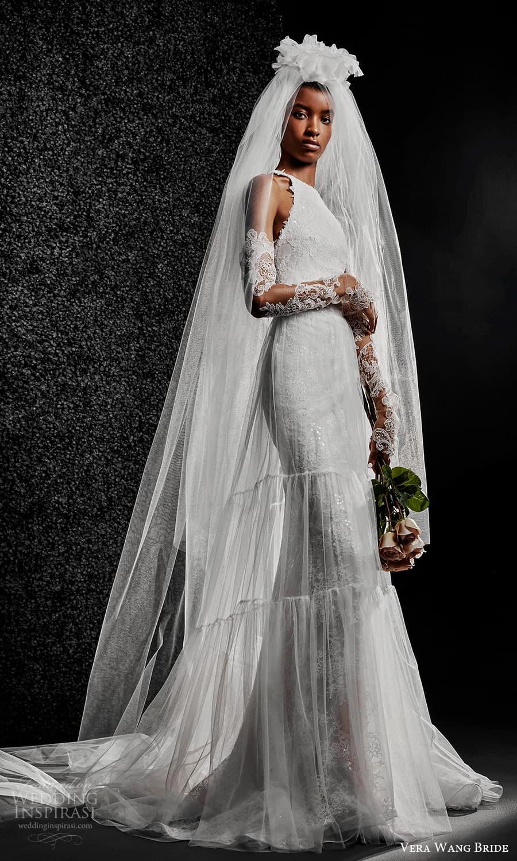 vera wang bride pronovias fall 2021 bridal detached long sleeve sleeveless halter neckline fully embellished lace sheath wedding dress chapel train (6) mv