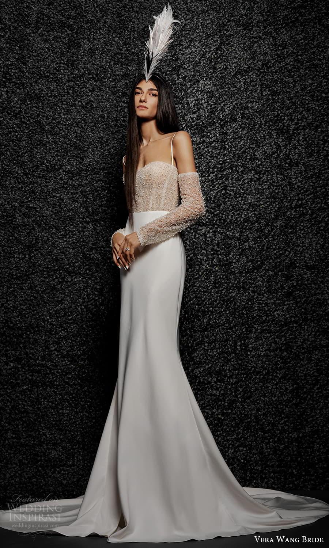 vera wang bride pronovias fall 2021 bridal detached sleeve sleeveless thin straps sweetheart neckline embellished bodice clean skirt mermaid wedding dress chapel train (37) mv