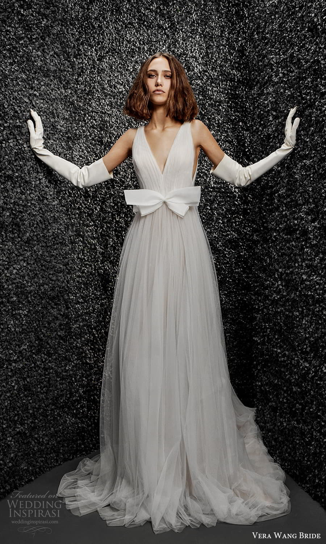 vera wang bride pronovias fall 2021 bridal glove sleeveless straps v neckline bow embellished waist ruched bodice a line wedding dress chapel train (29) mv