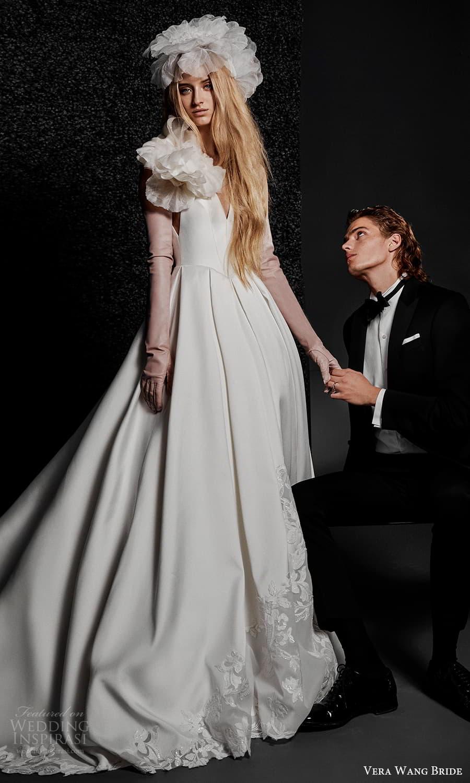 vera wang bride pronovias fall 2021 bridal glove sleeveless straps v neckline clean minimalist ball gown wedding dress chapel train (38) mv