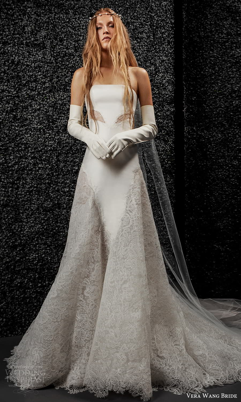 vera wang bride pronovias fall 2021 bridal glove strapless straight across neckline modern modified a line wedding dress chapel train (36) mv