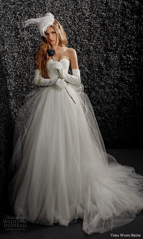 vera wang bride pronovias fall 2021 bridal glove strapless sweetheart neckline ruched bodice ball gown wedding dress chapel train (33) mv