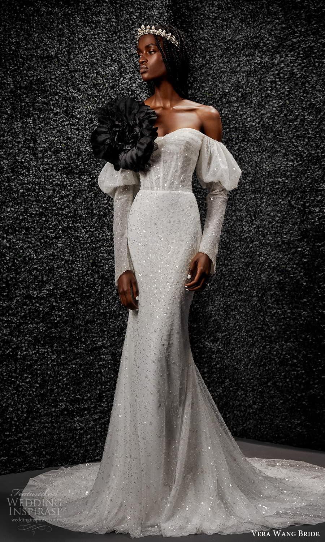 vera wang bride pronovias fall 2021 bridal long puff sleeve sweetheart neckline fully embellished sheath wedding dress chapel train (1) mv