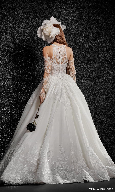vera wang bride pronovias fall 2021 bridal sheer detached long sleeve sleeveless halter neckline embellished lace ball gown wedding dress chapel train (11) bv