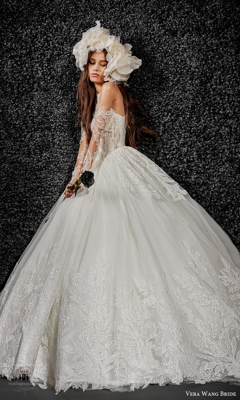 vera wang bride pronovias fall 2021 bridal sheer detached long sleeve sleeveless halter neckline embellished lace ball gown wedding dress chapel train (11) mv