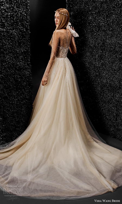 vera wang bride pronovias fall 2021 bridal sheer long sleeve illusion jewel neckline embellished bodice a line ball gown wedding dress chapel train (2) bv