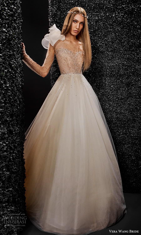 vera wang bride pronovias fall 2021 bridal sheer long sleeve illusion jewel neckline embellished bodice a line ball gown wedding dress chapel train (2) mv