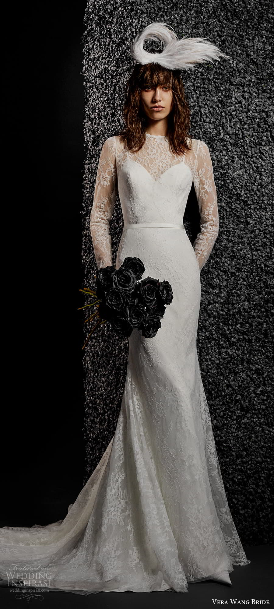 vera wang bride pronovias fall 2021 bridal sheer long sleeve illusion jewel neckline embellished lace sheath wedding dress chapel train (35) mv