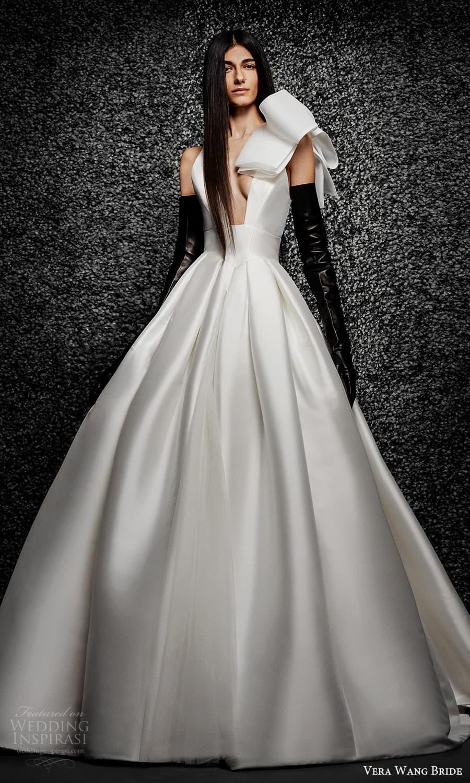 vera wang bride pronovias fall 2021 bridal sleeveless bow straps plunging v neckline clean modern a line ball gown wedding dress chapel train (28) mv