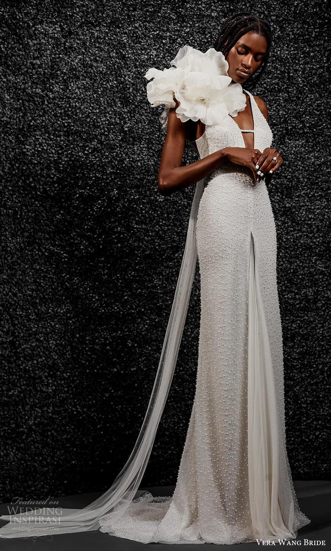 vera wang bride pronovias fall 2021 bridal sleeveless halter strap plunging v neckline fully embellished sheath wedding dress sweep train (9) mv