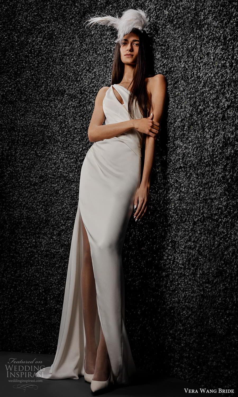 vera wang bride pronovias fall 2021 bridal sleeveless one shoulder strap cutout bodice clean minimalist sheath wedding dress (4) mv