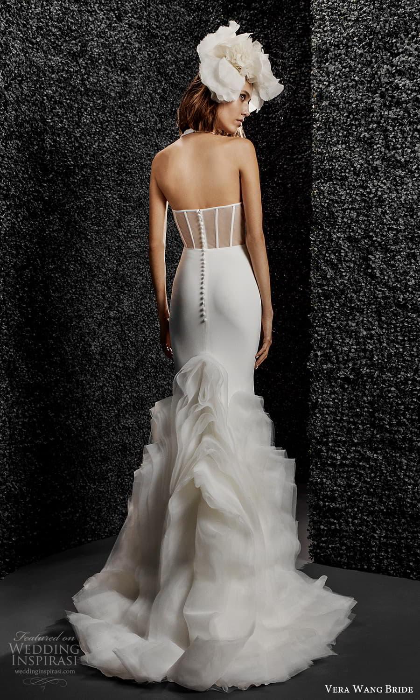 vera wang bride pronovias fall 2021 bridal sleeveless straps plunging v halter neckline clean minimalist sheath wedding dress chapel train (7) bv