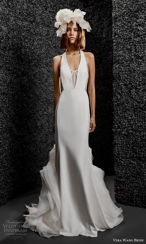 vera wang bride pronovias fall 2021 bridal sleeveless straps plunging v halter neckline clean minimalist sheath wedding dress chapel train (7) mv