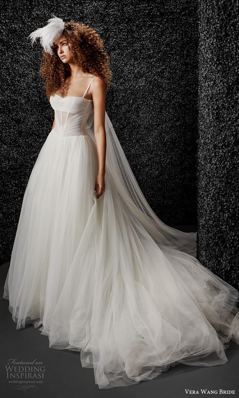 vera wang bride pronovias fall 2021 bridal sleeveless straps semi sweetheart neckline ruched bodice a line ball gown wedding dress chapel train (42) mv