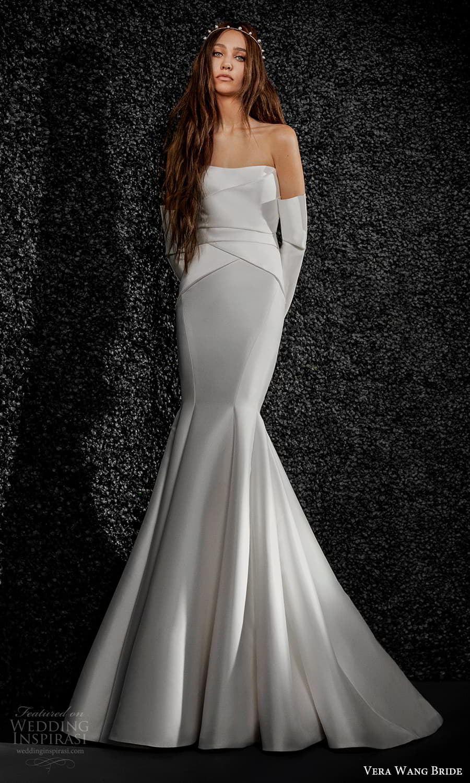 vera wang bride pronovias fall 2021 bridal strapless semi sweetheart neckline clean minimalist fit flare mermaid wedding dress chapel train (28) mv