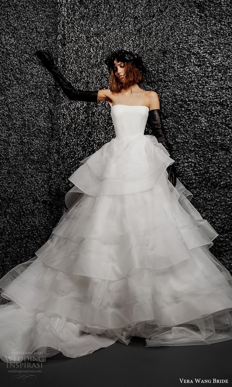 vera wang bride pronovias fall 2021 bridal strapless straight across neckline clean minimalist a line ball gown wedding dress tiered skirt chapel train (27) mv