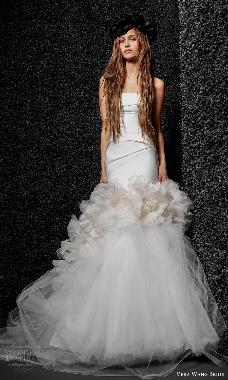 vera wang bride pronovias fall 2021 bridal strapless straight across neckline clean modern fit flare mermaid wedding dress ruffle skirt chapel train (30) mv