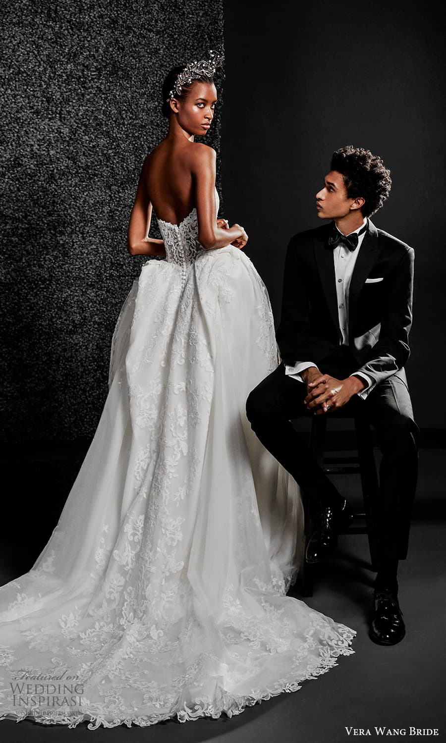 vera wang bride pronovias fall 2021 bridal strapless straight across neckline fully embellished lace a line ball gown wedding dress chapel train (5) bv