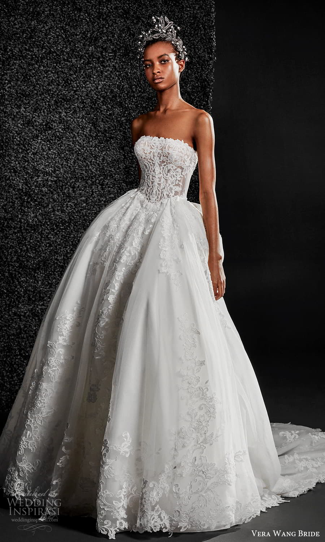 vera wang bride pronovias fall 2021 bridal strapless straight across neckline fully embellished lace a line ball gown wedding dress chapel train (5) mv